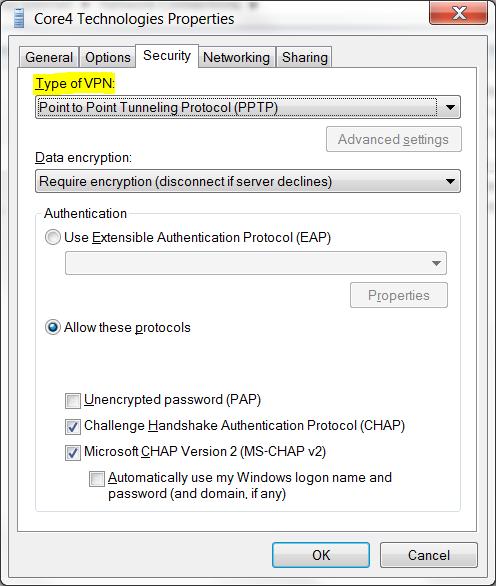 Windows 7 VPN Adapter PPTP Settings